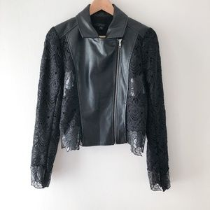 GUESS Black Faux Leather Jacket with Lace